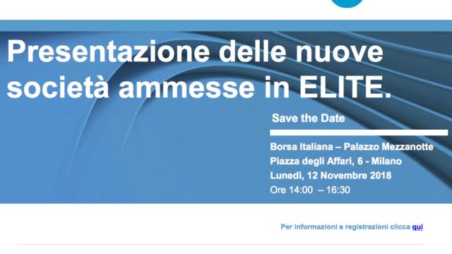 La 14^ classe ELITE verrà  presentata alla comunità finanziaria lunedì 12 novembre 2018 a Palazzo Mezzanotte.